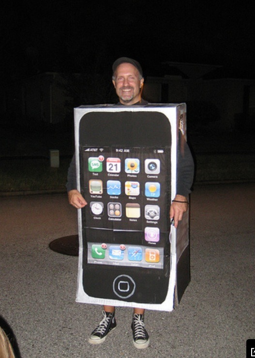 iPhone costume! Cut holes in a box for your arms and head, and print out or paint the apps you'd like to display