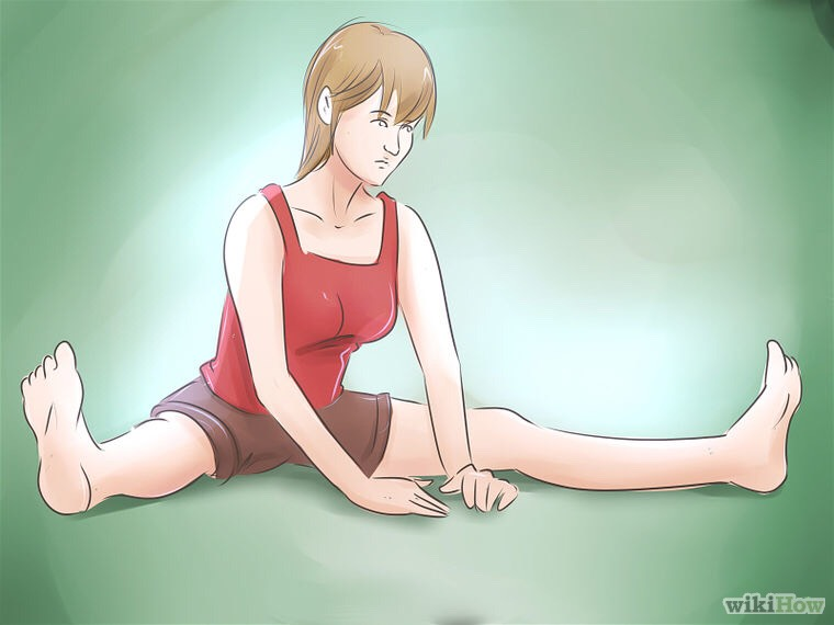 Do a seated V stretch. This helps stretching for the box splits. First try to put your elbows in the floor, then your nose. Then try and get your whole belly on the floor with a flat back.
