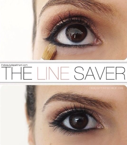 To keep your liner behaving, sweep loose or pressed powder right under the eye liner on your bottom lid. It creates somewhat of a barrier, preventing your eyeliner from traveling downward.
