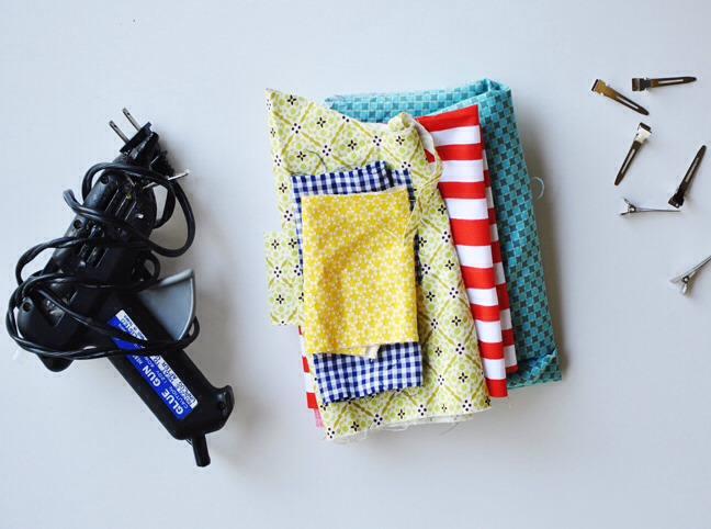 MATERIALS: Scrap fabric Basic sewing supplies Glue gun Hair clip