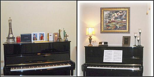 This is an example of where a client had under-scaled her accessories. Hanging a large picture above the piano added height. Less accessories on top of the piano made it less cluttered.