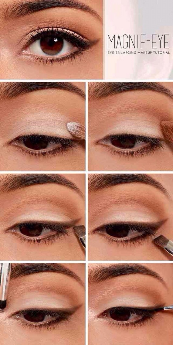 Again - Flush the eye with a light eye shadow - Define by adding a light brown pigment to the crease and blend  - Define the eye, by using a coffee brown eyeshadow to line the eye  - Add mascara