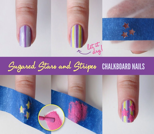 1. Star Nails To recreate the polish, you can paint straps first on the nails and then stamp the stars.
