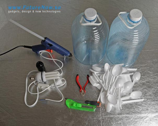 These are the materials. A recyclable bottle, hot glue gun, plastic spoons, exacto knife, tweezers, and a light bulb