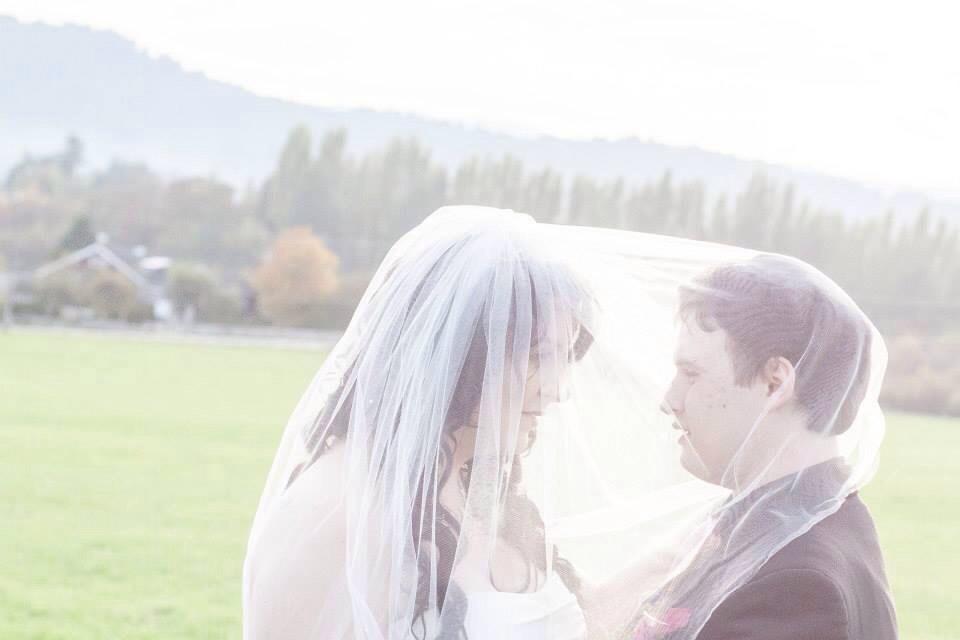 Under the brides veil