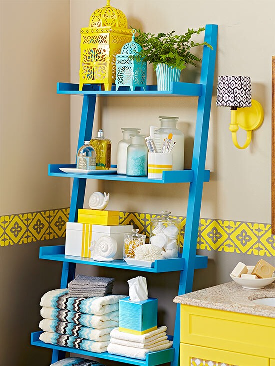 Stagger Shelves Uniform shelving units can push out into a small room, overpowering it and making it feel smaller than it really is. Instead, look for pieces that stair-step back the depth of the shelves, getting narrower at the top and lightening a room's look and feel.