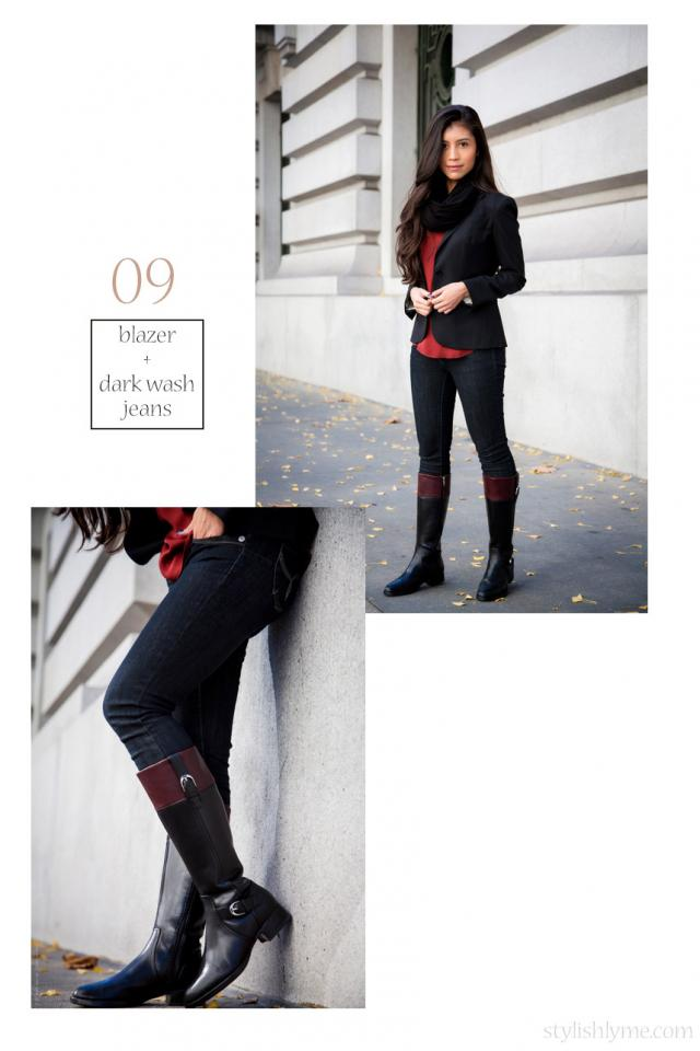 Classic riding boots worn with super skinny jeans and a dressy black blazer Nothing is more classic than riding boots! A classic pair of black flat riding boots could be the only pair you need for fall.