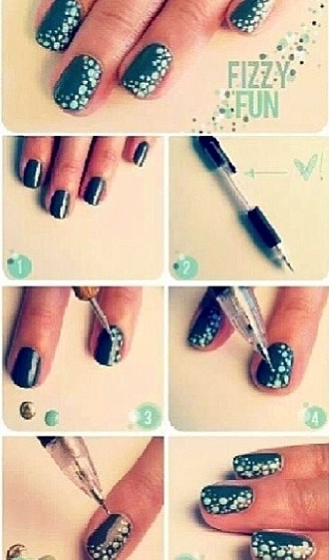 Paint your nails by putting a base coat then the color you want (2times)&then you take a pen and dip it in the color you want and gently put the dots on your nails then once dry, paint your top coat and viola pretty poka dots nails😊💅