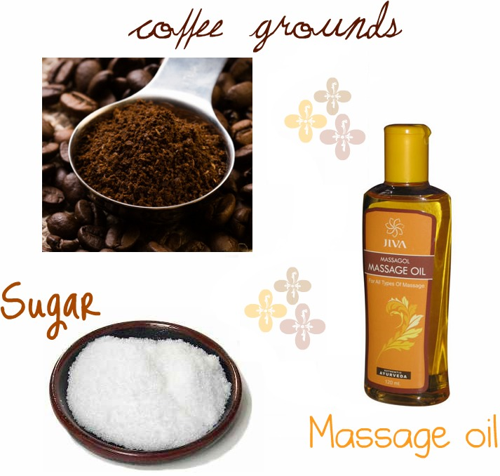 All youll need is coffee grounds, sugar, and massaging oil.