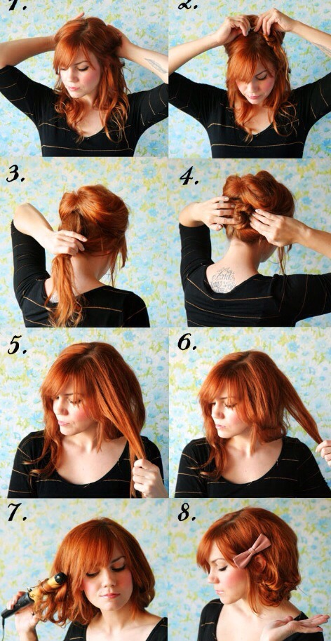 5. Now unpin the top section, begin dividing it into small strands. 6. Fold the strands in half and pin them up underneath, try your best to hide the bobby pins!  7. Once you've pinned all the strands, carefully use a curling iron to flip the strands out just a little.