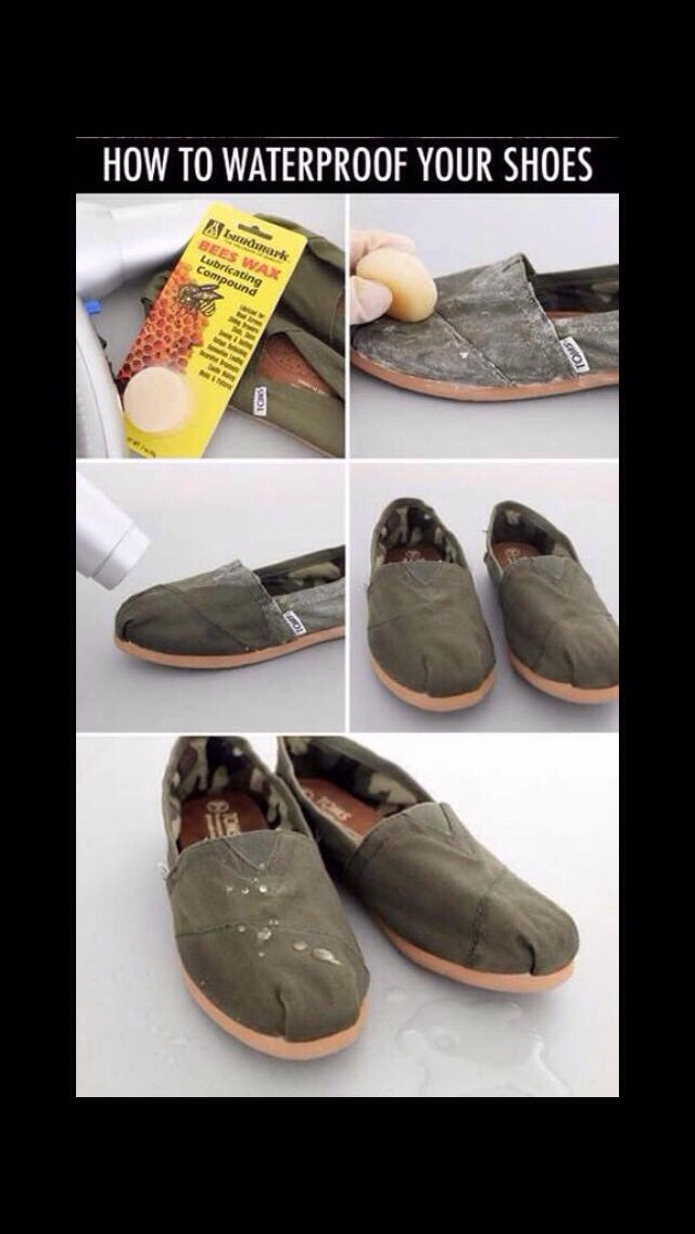 Rub all over shoes with bees wax then dry with hair dryer