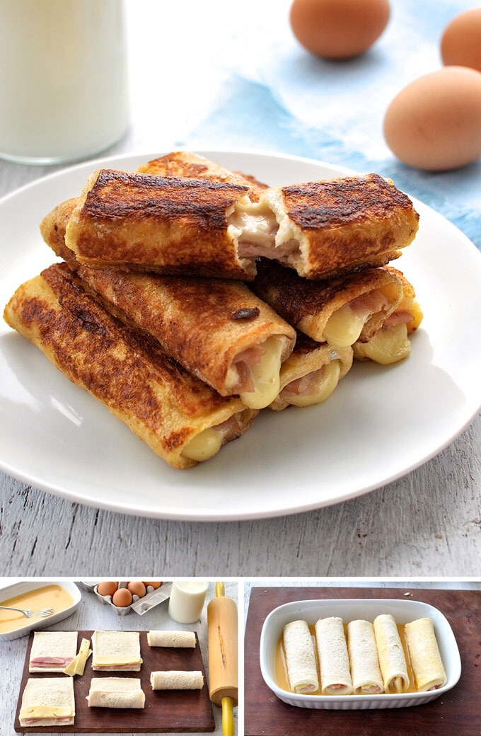 http://www.recipetineats.com/ham-cheese-french-toastie-roll-ups/