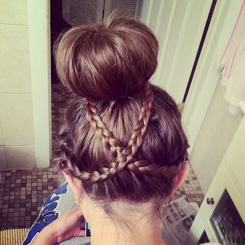 The double braid under neat bun look