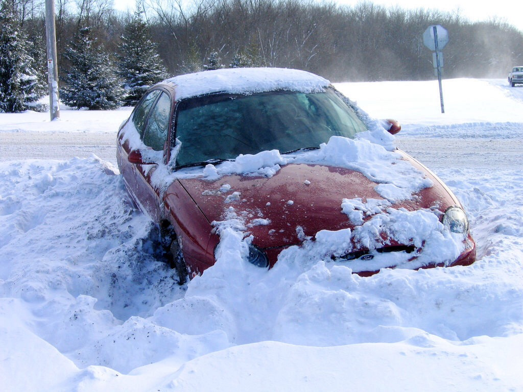 If you ever get stuck in snow a good way to get out is to use kitty litter!