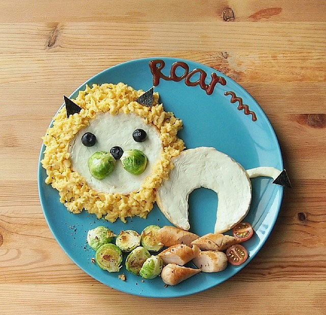 Little Lion Kids will roar over this filling and fun breakfast! All you need are scrambled eggs, a bagel, and a few of their favorite veggies.