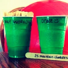 1. Need motivation to work out? Get 2 plastic cups and write 'Workouts' and 'Done' on each one. Then with the popsicle stick; write your exercise and move it to the 'done' cup once complete!💁❤️