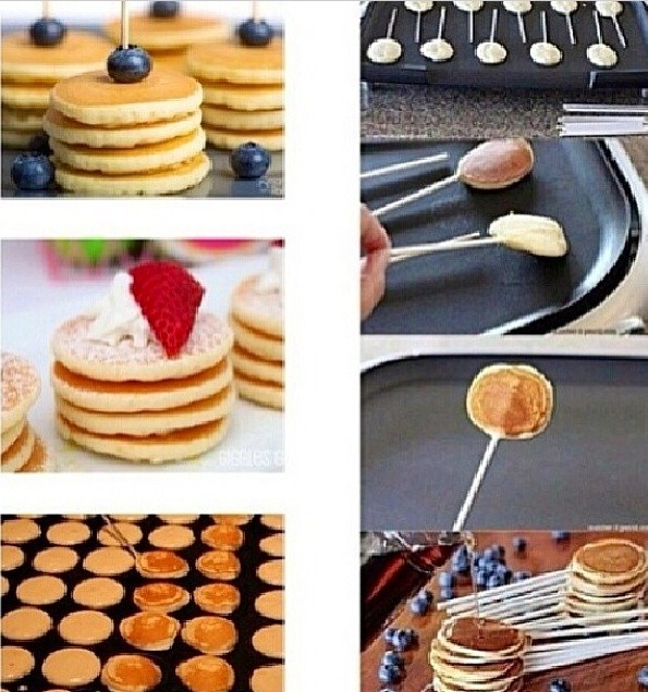 Needed: pancake mix, skewers,& the toppings you usually eat pancakes with. How to: after mixing the pancake mix make a little one by pouring a little bit to the pan and placing the skewer inside the pancake. Flip then pancake back & forth until ready and serve with your favorite toppings😋😊