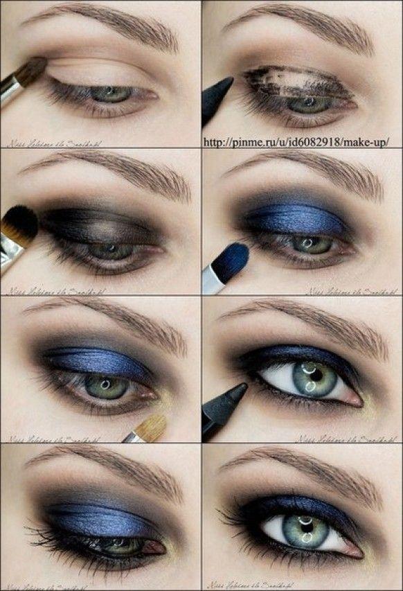 Pretty dark blue smokey eye
