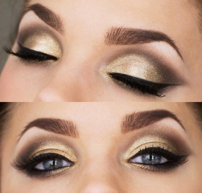 first apply a highly-pigmented gold shadow all across your lid and into the eye bone. Dip a small brush into some deep brown shadow and start blending in the outer corner of your eye and into the eye bone. Press a bit of gold shadow right on the middle of your lower lid, and finish with winged liner