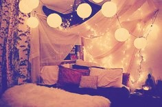 Get some blankets,clothespins,banana clips(meant for your hair but they are great to close any holes)and build a blanket fort this is something I do with everyone that comes to my house for a sleepover.For extra awesomeness get some fairy lights and your laptop and watch some movies.