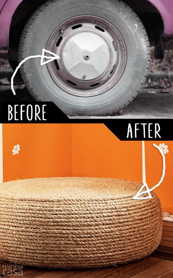 DIY Ottoman From Old Tire  http://www.handimania.com/diy/rope-ottoman.html
