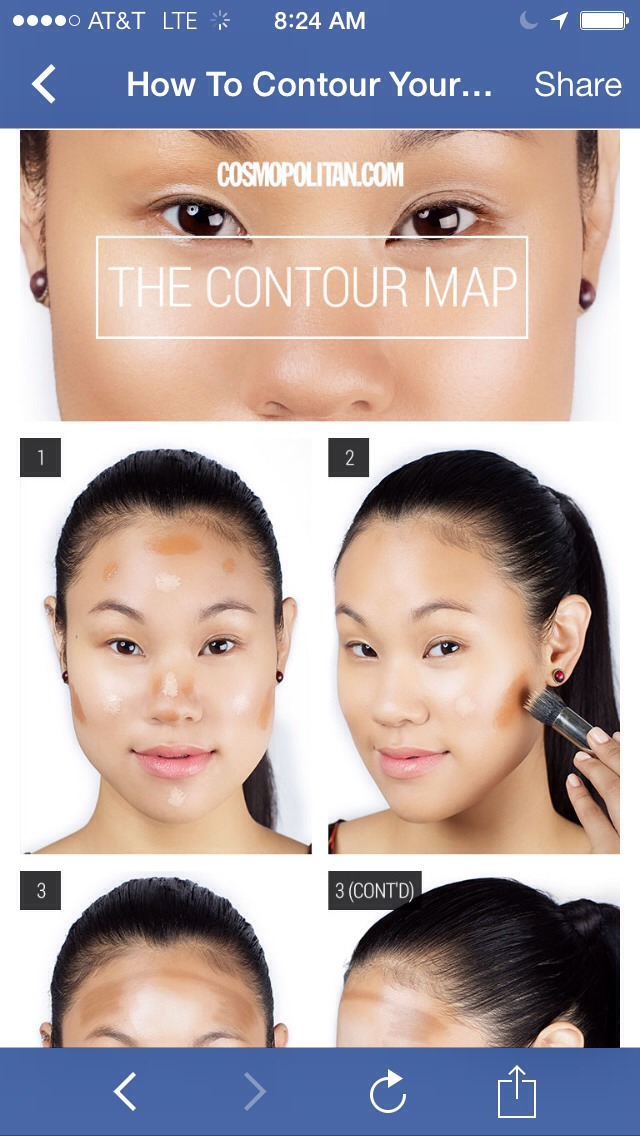 ". Prep your face with two shades of base. ""Dot on a foundation that's one shade lighter than your skin tone in the center of your face, and another that's one shade darker than your complexion around the perimeter"
