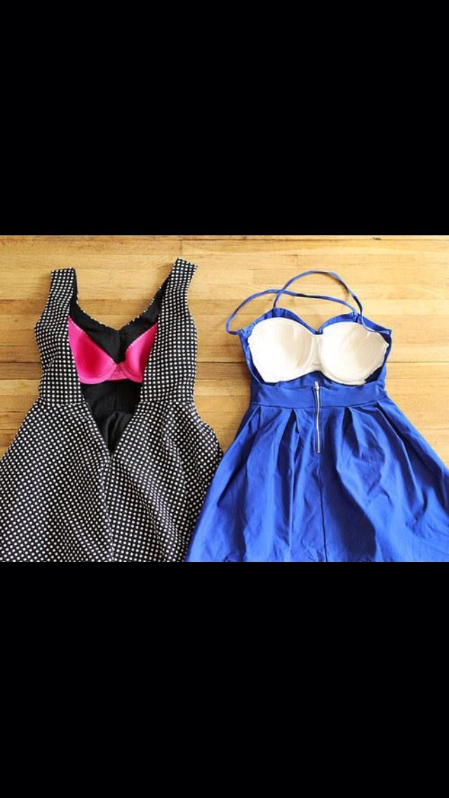 Sew in the front of a cheap strapless bra to dresses to act as a cup