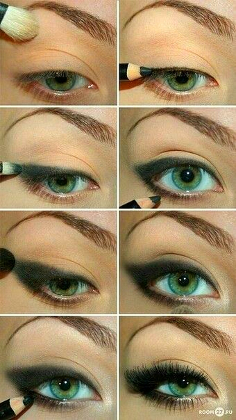 start off by a nude eyelid, then work your way up to a glamorous smokey eye! there is never to much black.