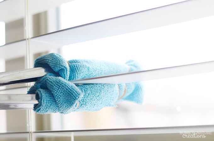 30.Dust all of your blinds thoroughly with a pair of tongs and a couple of microfiber cloths. When the cloths get too dirty, fold them the other way. Using an all-purpose cleaner or dust-control spray might help get the job done faster, but is completely optional. Learn how to put this togetherhere