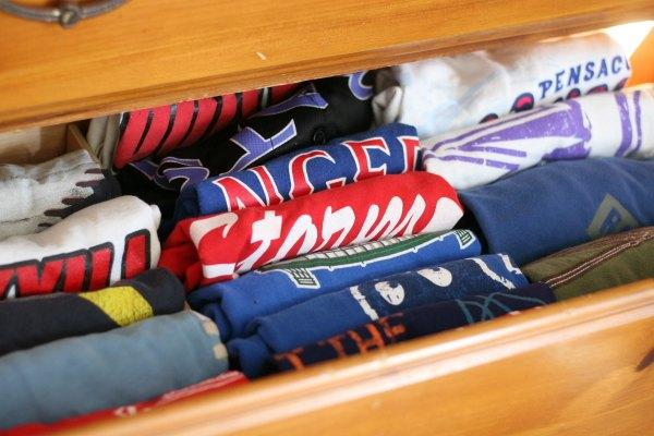 This is t-shirt drawer, which used to be two t-shirt drawers. Now everything fits in just one drawer and the contents are much more visible.