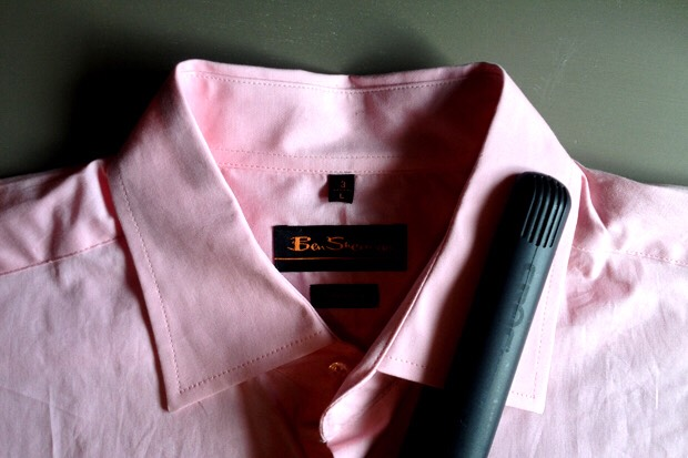 Use a hair straightener to quickly straighten a section of clothing.