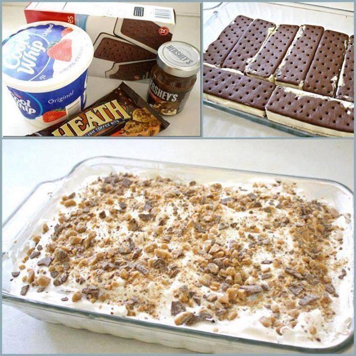 Full recipe http://www.lyndaskitchen.com/recipes/ice-cream-sandwich-cake/