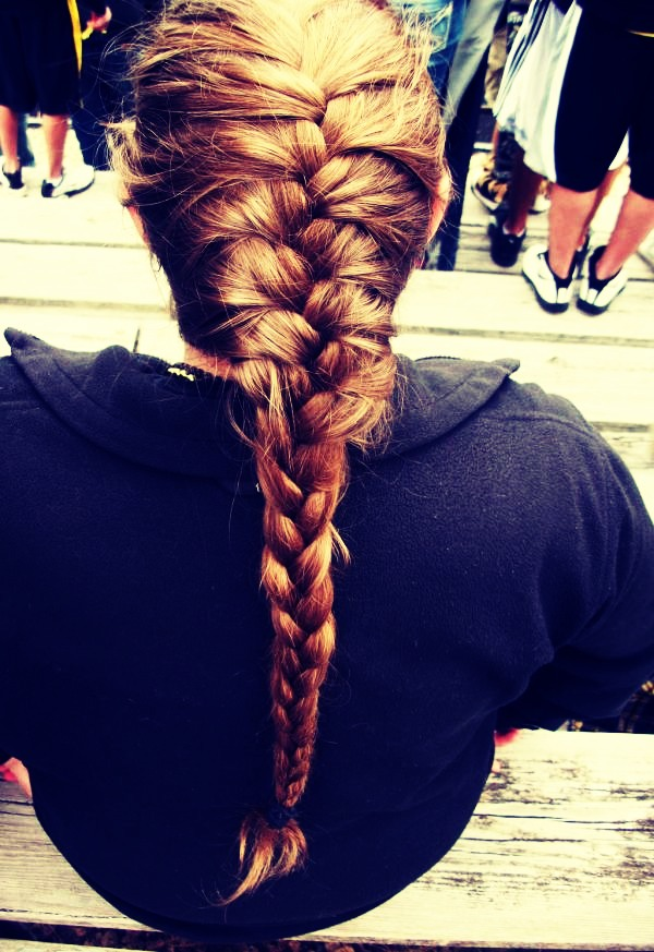 Before bead put your hair up in a French braid and sleep on it