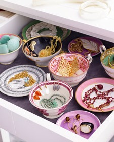 Tea Cups  Keep your jewelry drawer organized by using pretty tea cups and saucers.  Get the full tutorial at Martha Stewart.  http://www.marthastewart.com/269840/stylish-jewelry-storage