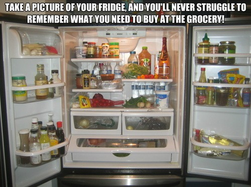 Take a picture of your fridge before you go shopping and you'll never have to struggle to remember what you need from the grocery store