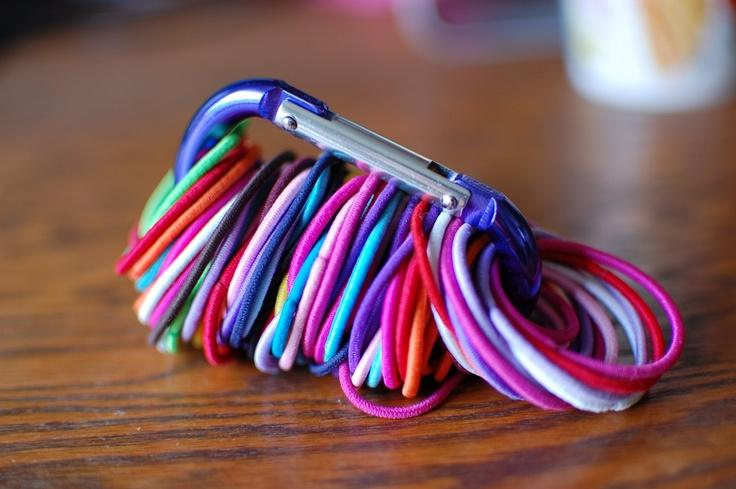 Hair Bands (this type has a tighter hold and can be stored in a carabiner, shown above)
