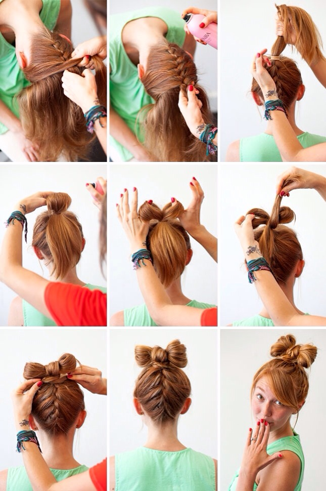 Follow these simple steps for a cute hair bow with a braid.