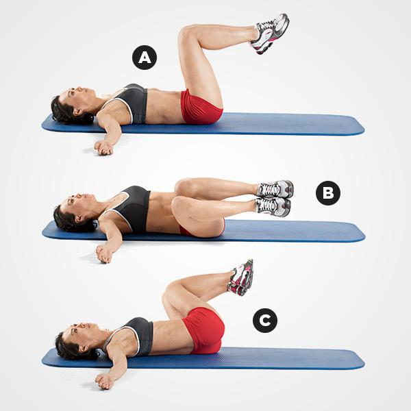 MOVE 5Hip Crossover  Lie on your back with your legs up, knees bent at 90 degrees directly over your hips. Extend your arms directly out from your shoulders and turn your palms upward