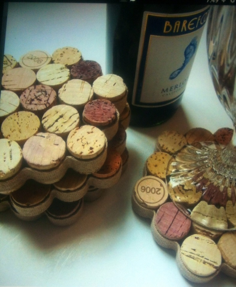 Cut Corks to desired length, super glue together, then superglue fabric around the outside and instant coaster! Pretty cool huh!!