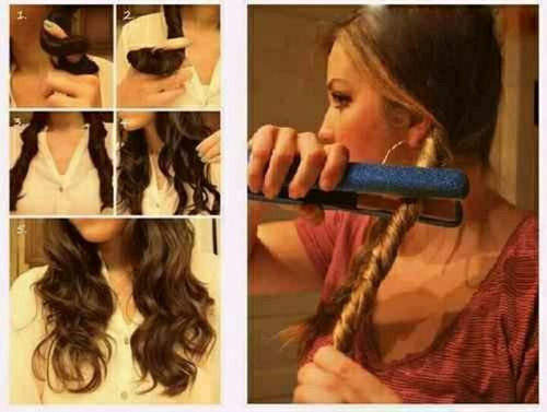 curly/wavy hair with a flat iron