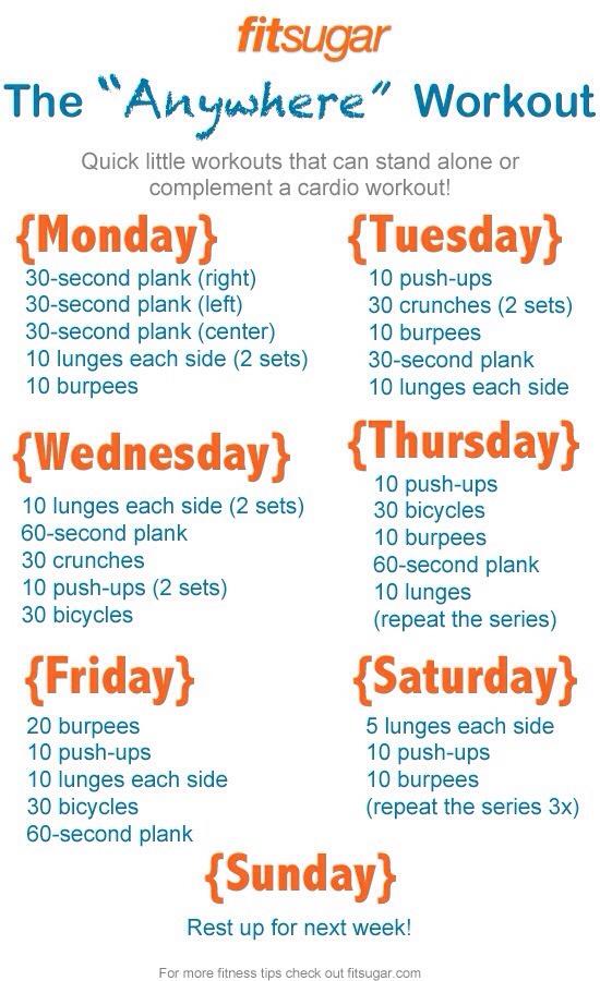 No time for a crazy workout? Do these at home! These workouts will benefit your core, arms, legs and abs!