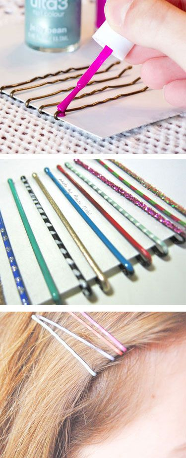 Add funky colors to your plain old bobby pins using bright nail polish.