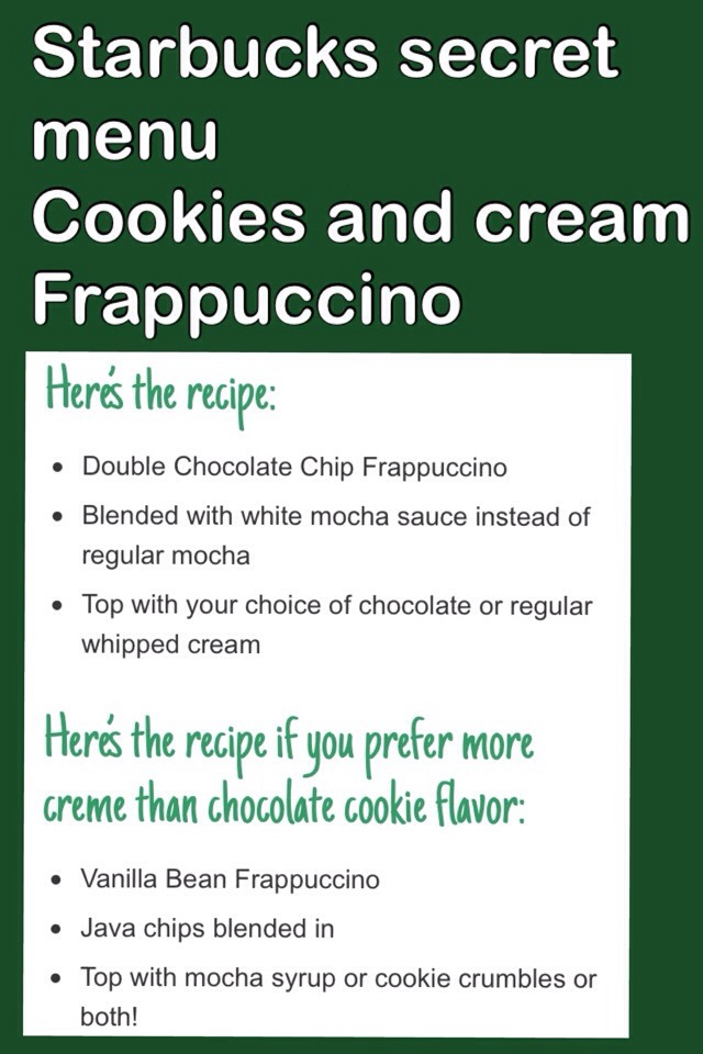 Starbucks Secret Menu Cookies And Cream Frapp By Amazing