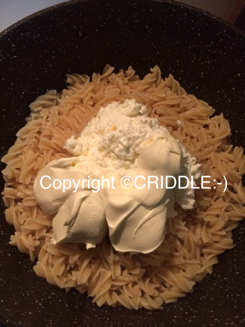 Cook 500g pasta drain then add 1 cup of cottage cheese and one cup of sour cream