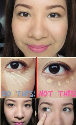 Concealing dark circles and bags under your eyes is much easier when you apply concealer properly. Instead of dotting on concealer in the pattern of your eyes, apply it in a triangle shape. Just dot it on under your eyes and blend downward in the triangle shape. It will cover up those dark circles.