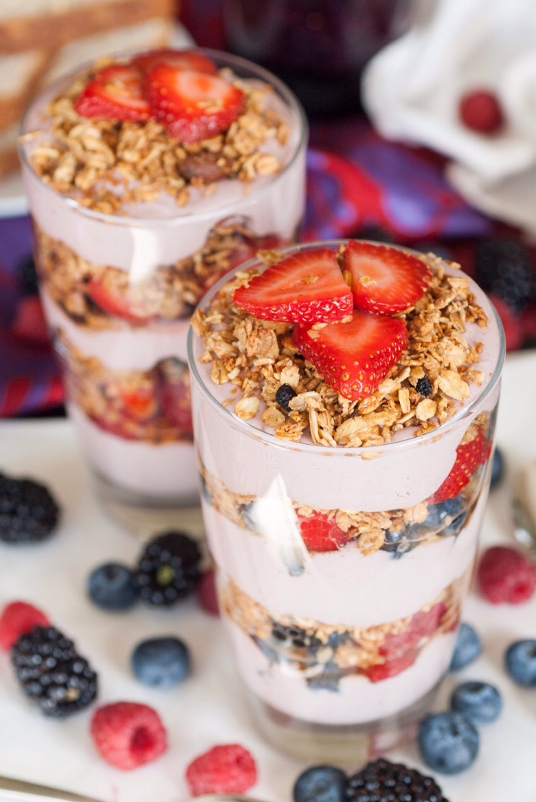 Breakfast Idea #5 Vanilla low fat yogurt (or Greek), choose 1 or all- strawberries, blueberries, raspberries, blackberries ,low fat granola  Start your parfait by putting in a layer of yogurt, then one of fruit(s) and one of granola, continue until your cup or jar is full 8oz water or milk of choice