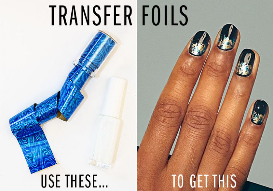 6. Transfer Foils.  Try Etsy Transfer Foil and Nail Adhesive Glue.