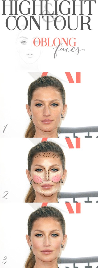 6. Learn how to highlight and contour if you have an oblong face, like Gisele: