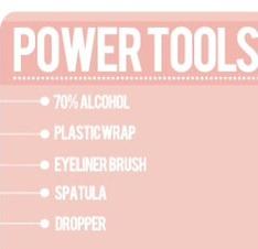Power tools: 70% alcohol  , plastic wrap  , eyeliner brush , spatula , dropper