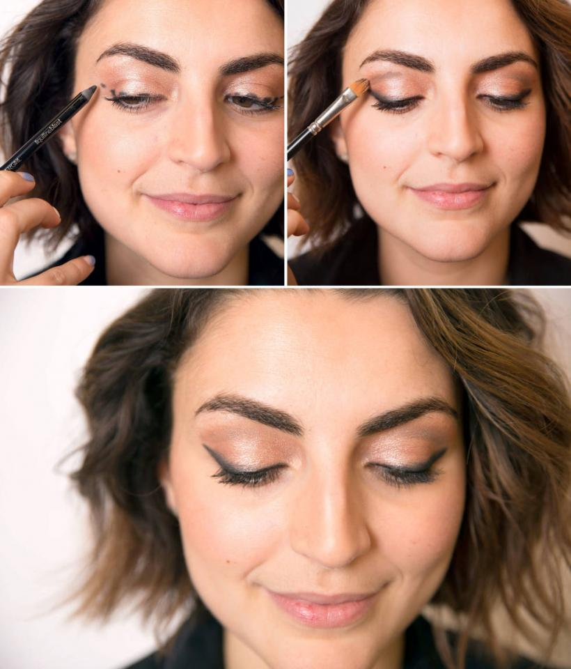 5. Give yourself a flawless cat-eye by drawing dots with an eye pencil, then connect them with liquid liner. Add depth with cream shadow in the crease of your eye if you have any on hand.